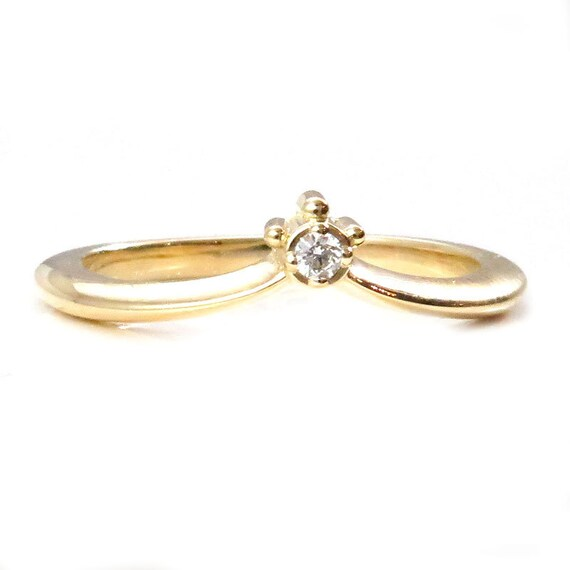 Tiny Diamond Curved Crown Ring - Modern Wedding Band - Yellow, Rose or Palladium White Gold