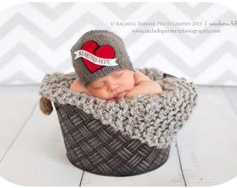 Mommy's Heartbreaker - Newborn/Baby Valentine Beanie - Made to Order