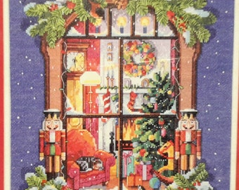 Christmas Window Counted Cross Stitch KIT Zweigart 11x14 Inches DIY Picture Embroidery Fabric Painting Housewarming Birthday Gift Nutcracker