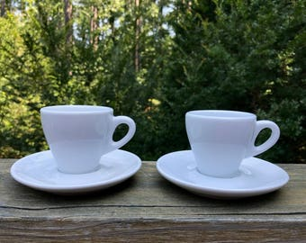 2 White Expresso Cups - Demitasse Cups - Cups and Saucers - Ceramic - White Ceramic - Food Photography Props - Breakfast Prop - Coffee