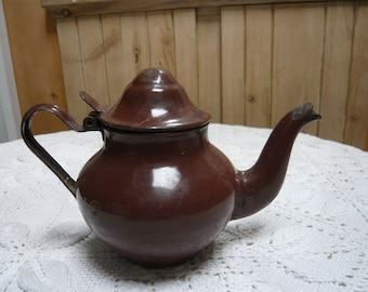 Brown enamel infusion or tea pot or coffee pot enamel metal iron 1940