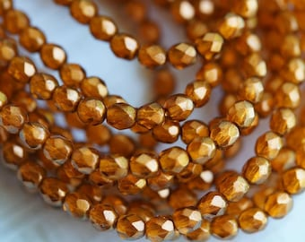 4mm Fire Polished Beads - Czech Glass Beads - Halo - Sandalwood - Orange Luster - 4mm Faceted Beads - Bead Soup Beads
