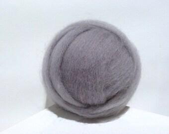Silver Grey Wool Roving, Needle Felting, Spinning Fiber, grey roving, gray, roving light pewter, ash gray, ship gray roving, Saori weaving