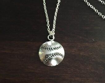 baseball necklace, baseball, silver baseball necklace, baseball pendant, baseball jewelry, baseball necklaces, silver necklace, necklace