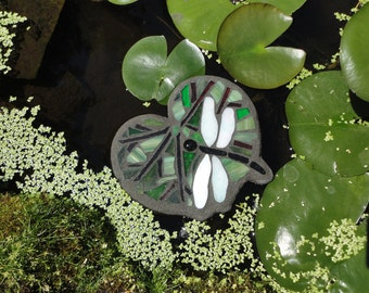 Lily Pad, Floating Glass Art Sculpture, for Water Gardens, Home Decor, Stained Glass Mosaic, Floating Stained Glass Mosaic Art for Ponds
