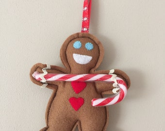 Christmas Gingerbread Man Candy Cane Decoration