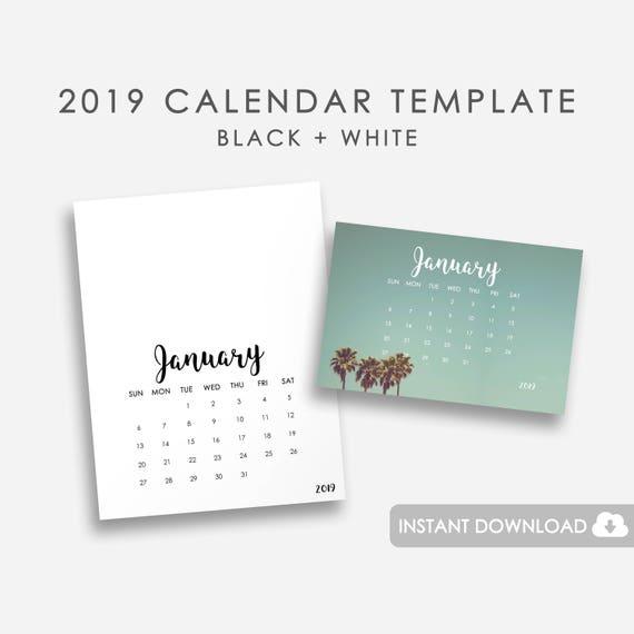 2019 Calendar Template Printable Calendar Template 2019