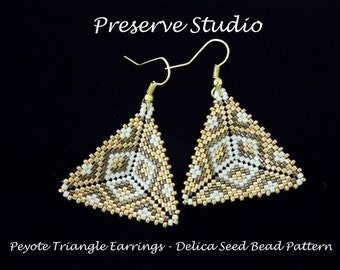 Peyote Triangle Delica Seed Bead Pattern, Beaded Triangle Pattern, Beading Tutorial, Peyote Stitch, DIY Earrings