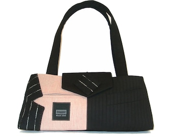 Chase#2118- Recycled Suit Coat Handbag - Small Shoulder Bag - Pink Upcycled Purse - Ecofriendly Bag - Valentine Gift for Her - Ready to ship