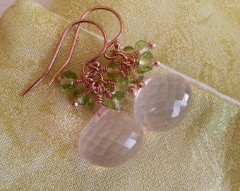 Cluster earrings with rose quartz, peridot, on rose gold