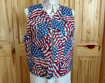 Vest, Shaded Waving Flag Vest, American Flag, USA, United States, America