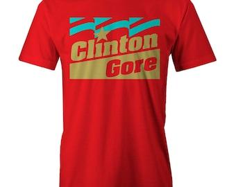 Clinton Gore T-shirt Funny Retro USA President Elections Cam