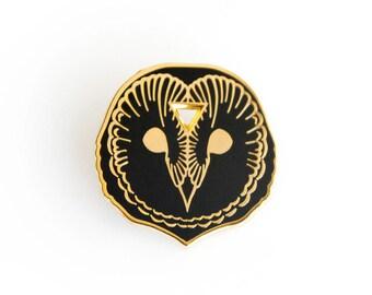Arcane Owl Enamel Lapel Pin in Black and Gold