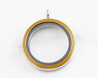 30mm Yellow Enamel Living Floating Locket, Living Round Glass Lockets, Memory Locket