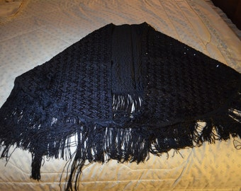 ON SALE    A Vintage Black Shawl With Long Fringe and Sequins
