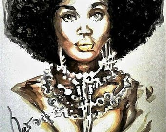 African American Female Natural Hair Art Print Jewelry Afro Watercolor Portrait Wall Decor Limited Edition Poster Print