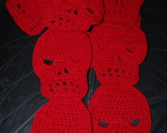 Crocheted SKULL Scarf in Burgundy