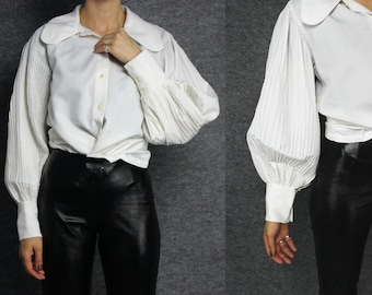 white pleated puff long sleeve blosue S M