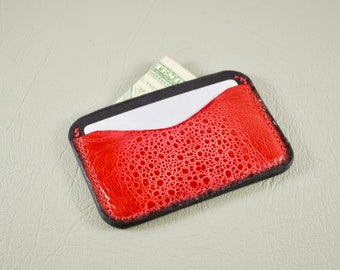 Leather Card Wallet, Cane Toad & Kangaroo Leather Minimalist Wallet, Leather Card Holder, Leather Business Card Holder, Front Pocket Wallet