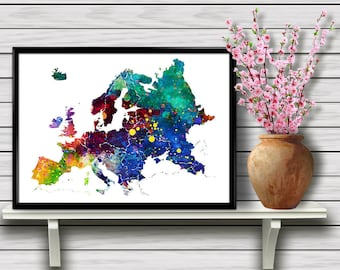 The Map of Europe, Colorful Watercolor Printable Wall Art, Travel, Geographical Home Decoration, gift, Instant Download (03)