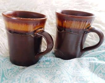 Vintage retro coffee mugs brown X2