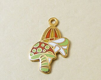 Vintage Aviva Enamel Charm Mushrooms Green and Orange Cloisonne Mother Nature Series 27-1