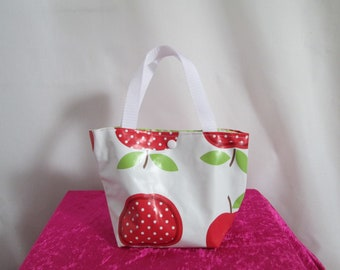 Mini tote bag child in white oilcloth with red apples