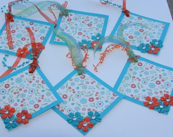 Orange and Turquoise Flower Gift Tags Set of 6