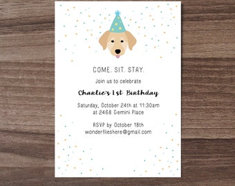 Puppy party invite etsy custom dog theme birthday invitation filmwisefo