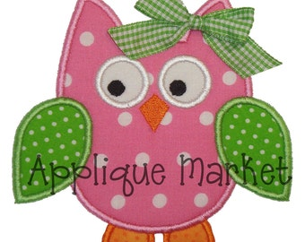 Machine Embroidery Design Applique Owl 4 Sizes INSTANT DOWNLOAD