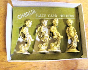 Gold Cherub Dining Place Card Holders Formal Dining Scroll Gold Gilt Fine Dining Wedding Romantic