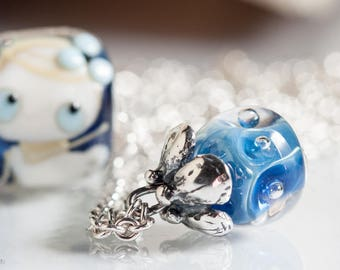 Fantasy Chain sterling silver Artisan Glass Bead Ooak Lampwork Beads SRA Necklace