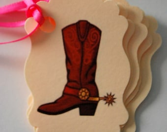 Cowgirl or Cowboy Boot Tags - Set of 10