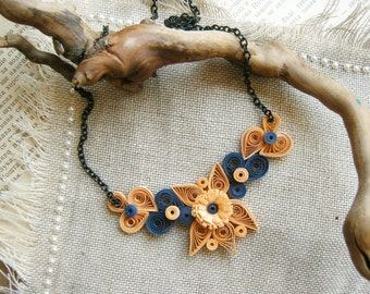 Orange and Blue Flower Necklace- Laura, Paper Anniversary Gift For Her, Paper Necklace, Ooak Floral Necklace