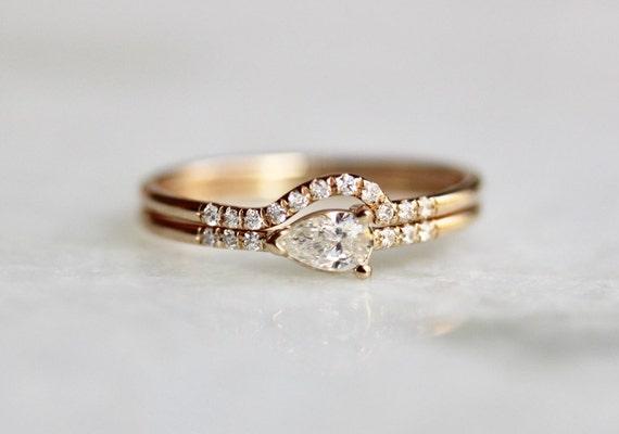 14K Pear Diamond Engagement Ring Set Wrap Around Wedding