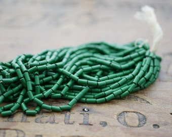 Antique Early Plastic Celluloid Tube Seed Beads Rare Seed Beads Green Beads (Hank) SB1192