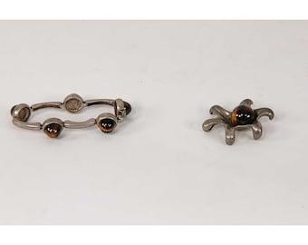 Vintage Tigers eye and sterling silver /Modernist Bracelet and pendant set / 1960s Tiger's eye necklace