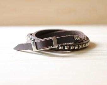 Rhodium Silver Pyramid Studded Leather Wrap Bracelet(Dark Brown)