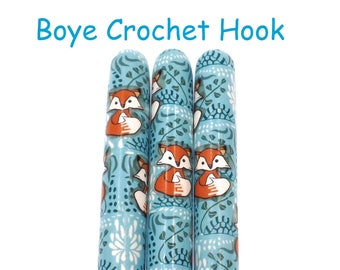 Crochet Hook, Polymer Clay Covered Boye Crochet Hook, Crochet Hook sizes B-N, Fox, Friendly Foxes, Woodland, Forest Animal