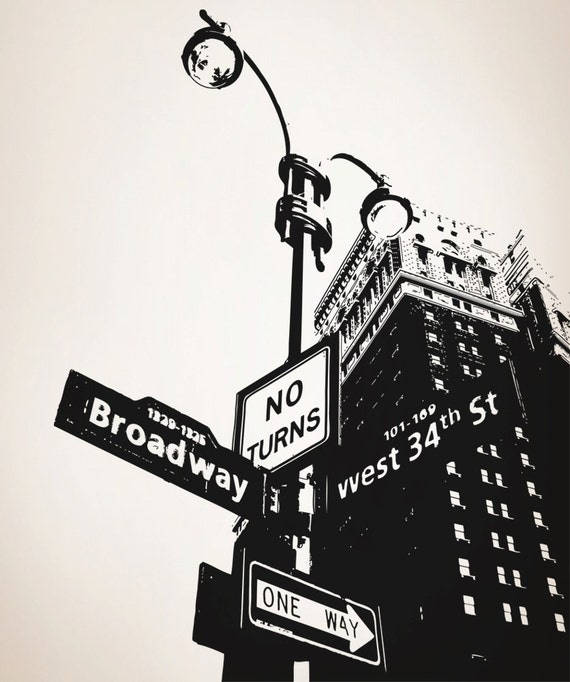 Vinyl wall decal sticker corner of nyc broadway osaa559s