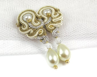 Wedding earrings for bride, bridal earrings pearls, wedding earrings pearls, earrings pearls long, earrings pearls gold, soutache earrings