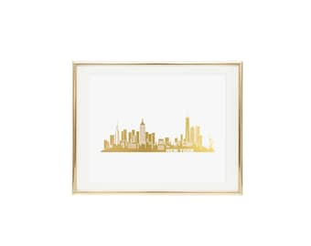 New York Skyline Gold Foil Print- Real Gold Foil, Fashion Print, Print of New York, New York Skyline, NYC Print, Wall Art, City Skyline