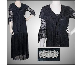Vintage 1920s Dress   Flapper Dress   Black Lace   Lined   20s Dress   Gatsby Dress  