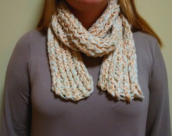 Peach, Gold, and Mint Green Three Strand Scarf