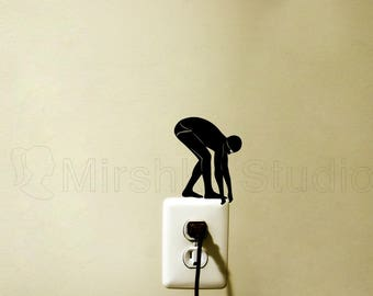 Swimmer Light Switch Fabric Decal - swimming wall Sticker - Jumping Man Decor - Swim Teen Room Wall Art - Diver Laptop Decal - Swimmer gift
