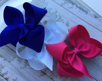 Set of 3 4 inch toddler hair bows~Baby Hair Bows~Baby Head band~Shocking Pink, Royal Blue, White~Girls Boutique Hair bows~Gift