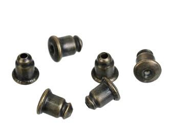 20pr Antique Bronze Tone Copper Bullet Earring Ear Nuts/Stoppers 6 x 5mm (B190f/261L)