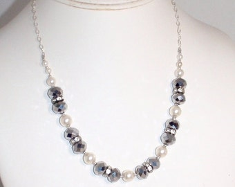 Silver Glass Pearl Blingy Choker Necklace