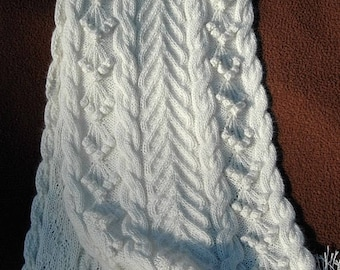 """Scarf or Neckwarmer for Women, handknit in pure fine Angora with cables and bobbles """"Bowen Island"""" MADE TO ORDER"""