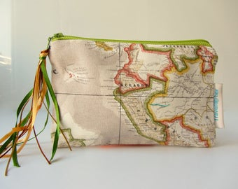 small zipper pouch coin purse world map pouch make up pouch small world